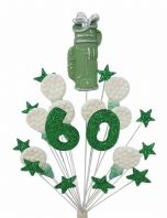 Golfer 60th birthday cake topper decoration in green and white - free postage